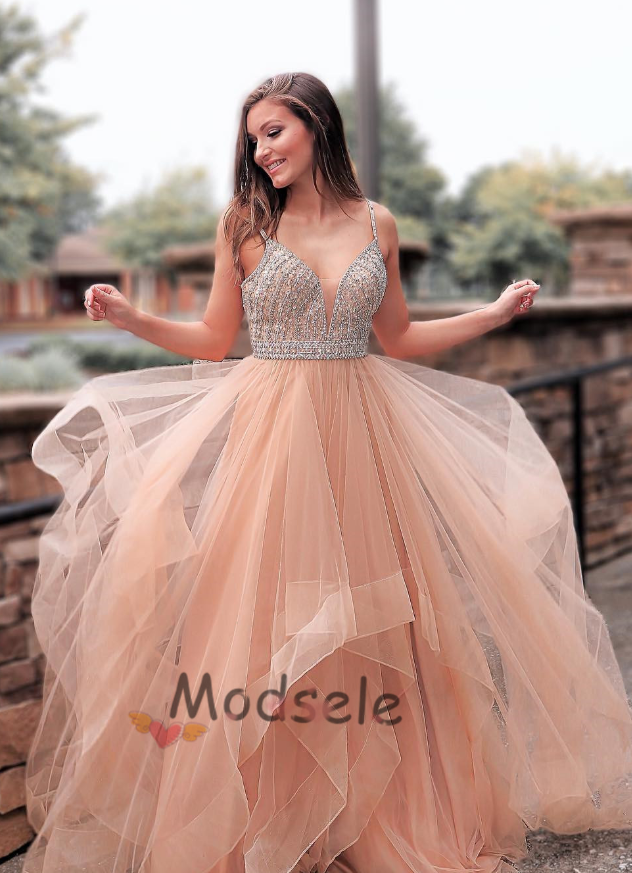 8245e5ac332 Sparkly Beaded Champagne Tulle Long Prom Dress in 2019