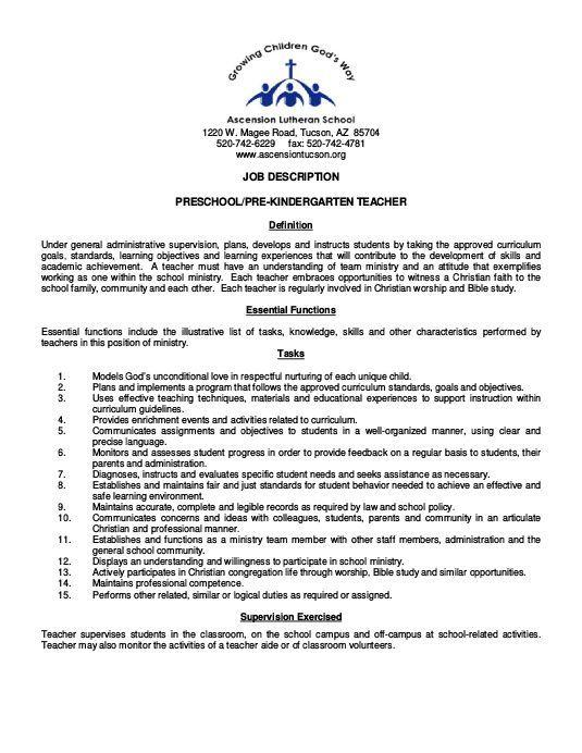 job description preschoolpre kindergarten teacher the lutheran