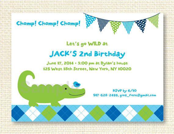 Preppy Alligator Birthday Invitation by LittlePrintsParties - birthday template invitations