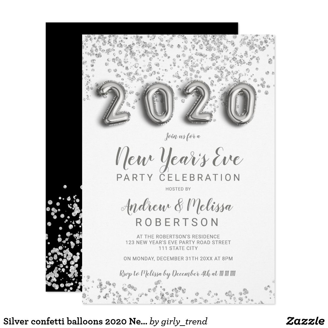 Silver confetti balloons 2020 New Year's eve Invitation