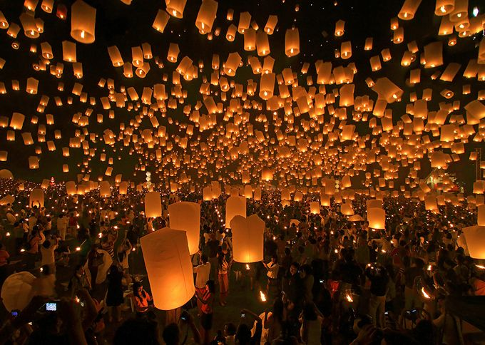 Festival Of Lights In Spain Sky