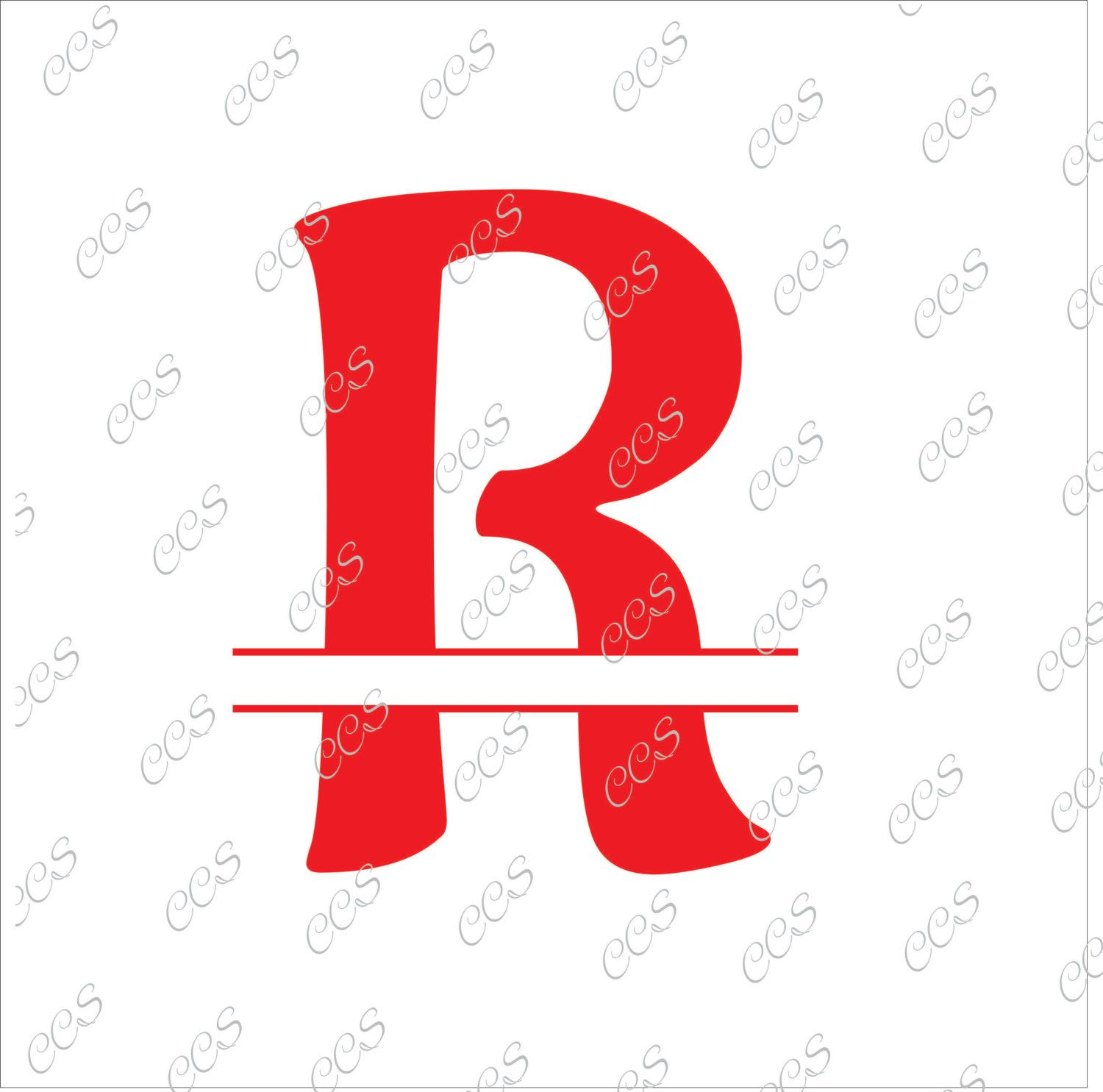Digital Cut File, Split monogram Letters - Letter R, Vinyl