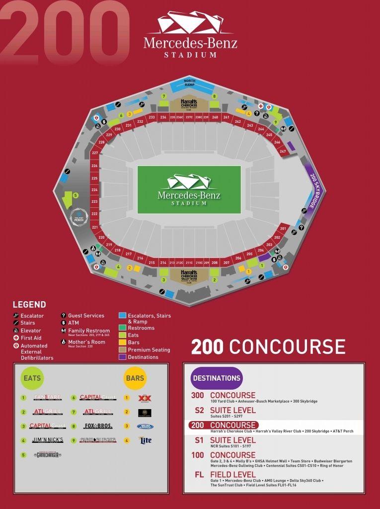 Stadium Maps Mercedes Benz Stadium Regarding Brilliant Atlanta Mercedes Benz Stadium Seating Chart Dengan Gambar