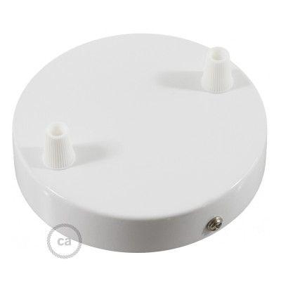 Kit Rosace à 2 Trous Cylindre Blanc 120 Mm Fixation Vis Et