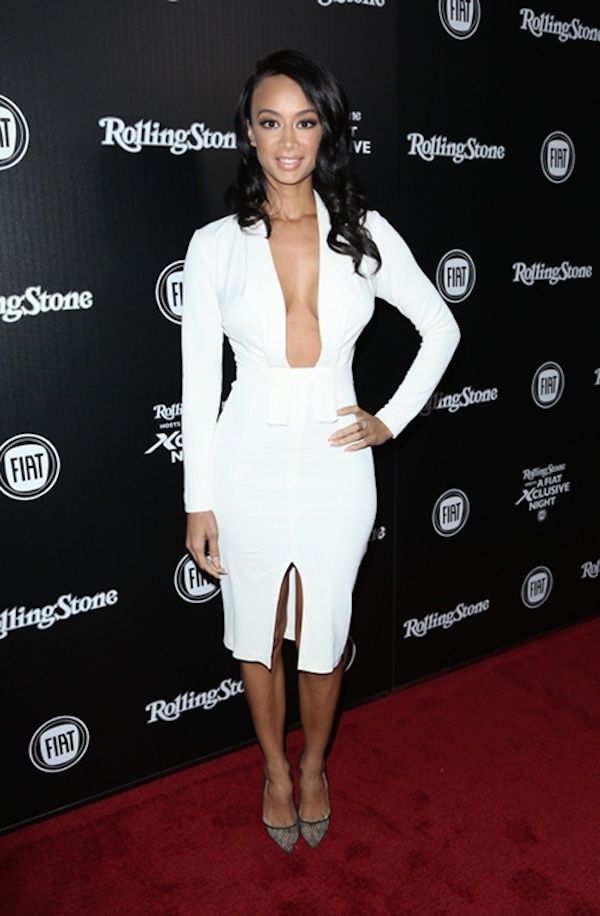 Winter white it is! Draya looked lovely in a long sleeve deep plunge dress  while at the Fiat 500x Rolling Stone Magazine Launch party in L.A. c7b642990