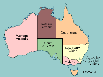 map of australia with provinces labeled
