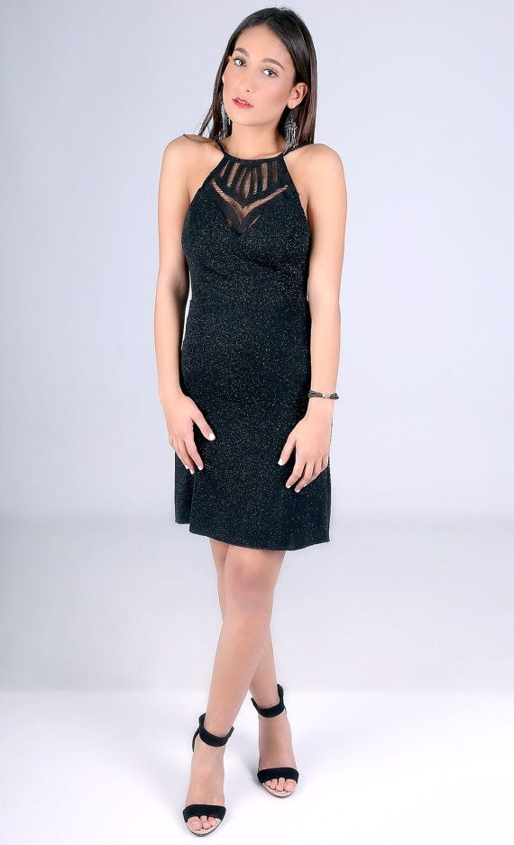 Short black dress halter cocktail dress sexy party by naamakamelo