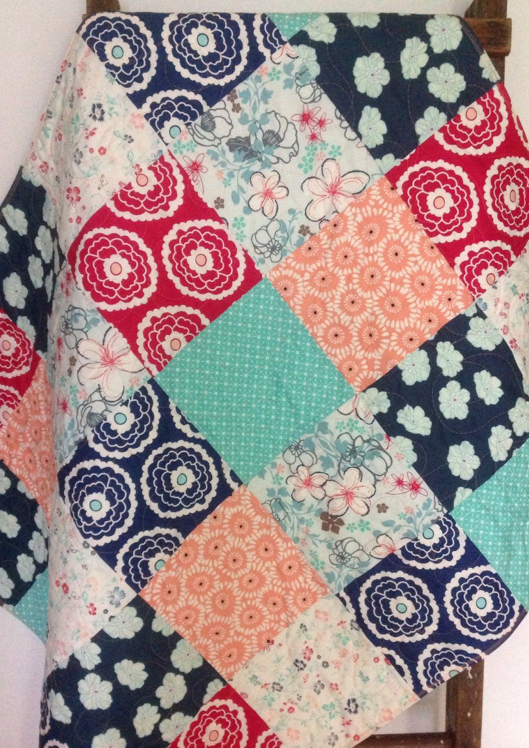 Baby quilt girl nouvelle cloudberry girl about town aqua coral