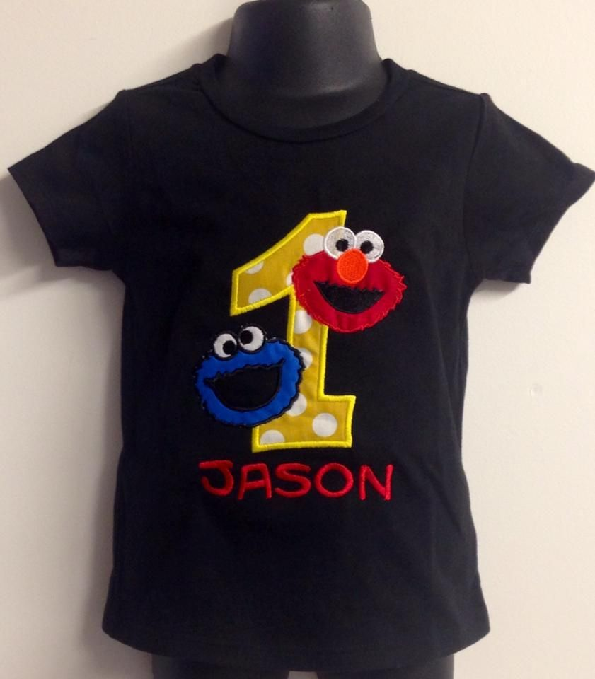 4ff82c4e Personalized Elmo & Cookie Monster Combo Birthday Design- Yellow Dot ...