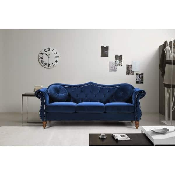 US Pride Furniture Anna Upholstered Nailhead Chesterfield Sofa (Blue)
