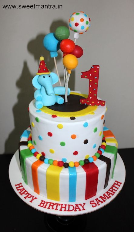 Balloons Theme 2 Layer Customized Colorful Designer Cake For Baby Boys 1st Birthday At Pune