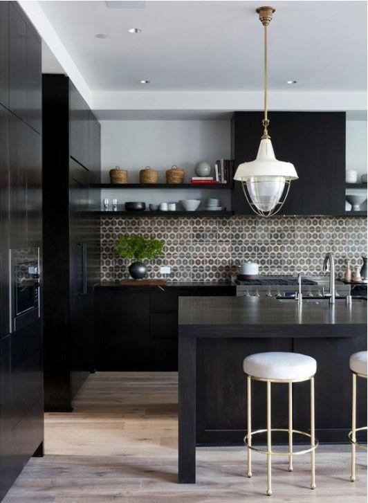 Black Kitchen Design with Beautiful Mosaic Backsplash