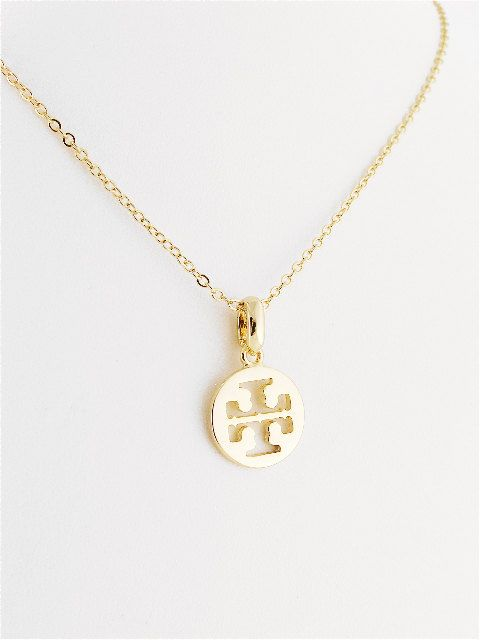 d1ce89657d09b Tory Burch Style Gold Plated Logo Pendant Necklace - SALE 15 ...