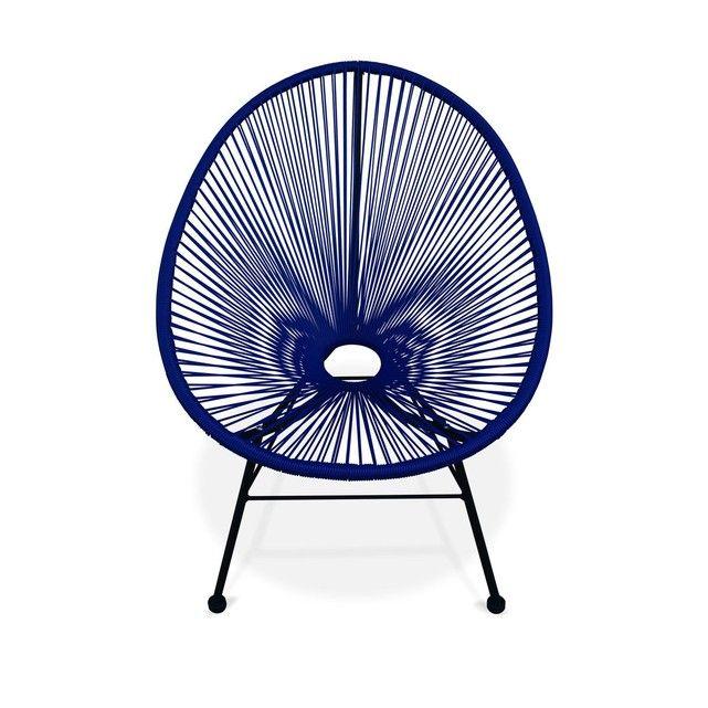 Fauteuil Acapulco chaise oeuf design rétro cordage Bleu roi