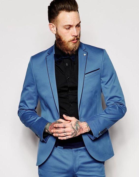 2017 Latest Coat Pant Designs Blue Men Suit Jacket Slim Fit 2 Piece ...