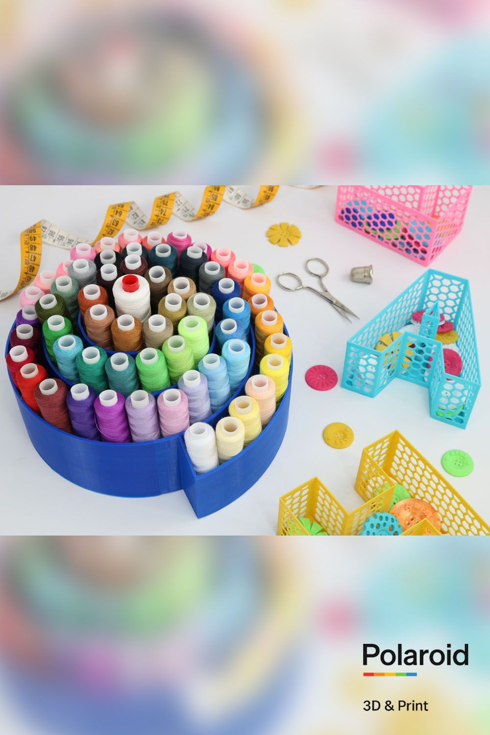 Practical but pretty! Keep your #artsandcrafts supplies organised with #3Dprinted storage solutions. #sewing #hobby #craftroom
