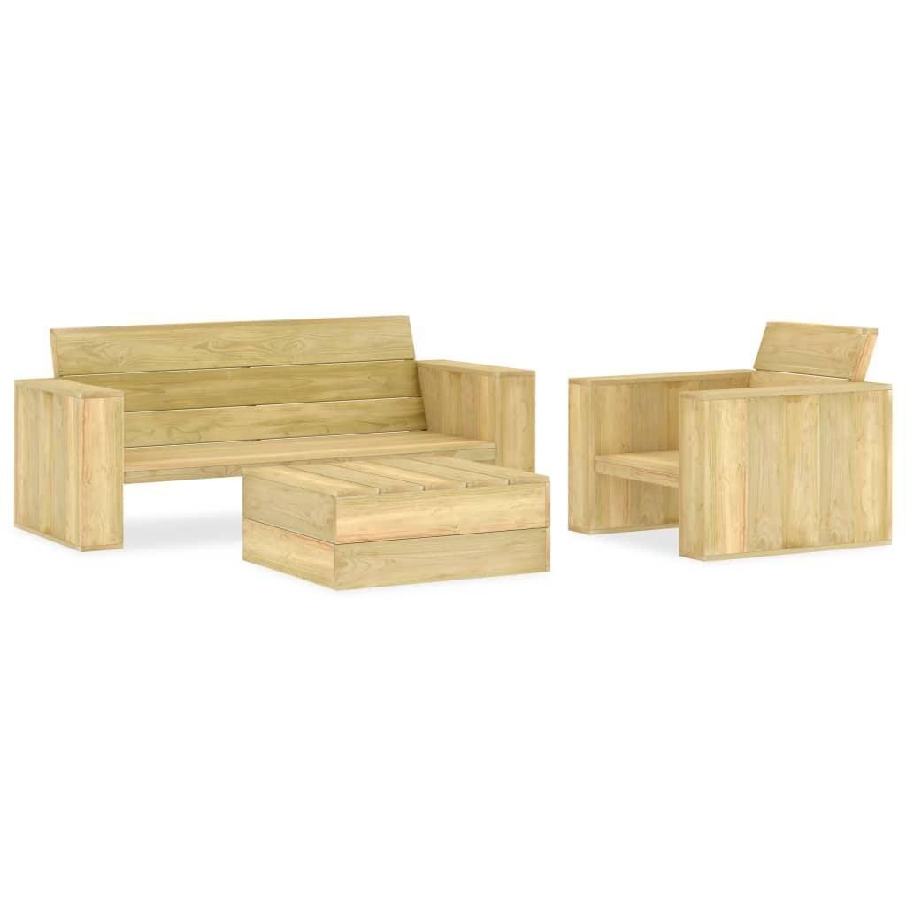 Vida 3 Piece Garden Lounge Set Impregnated Pinewood