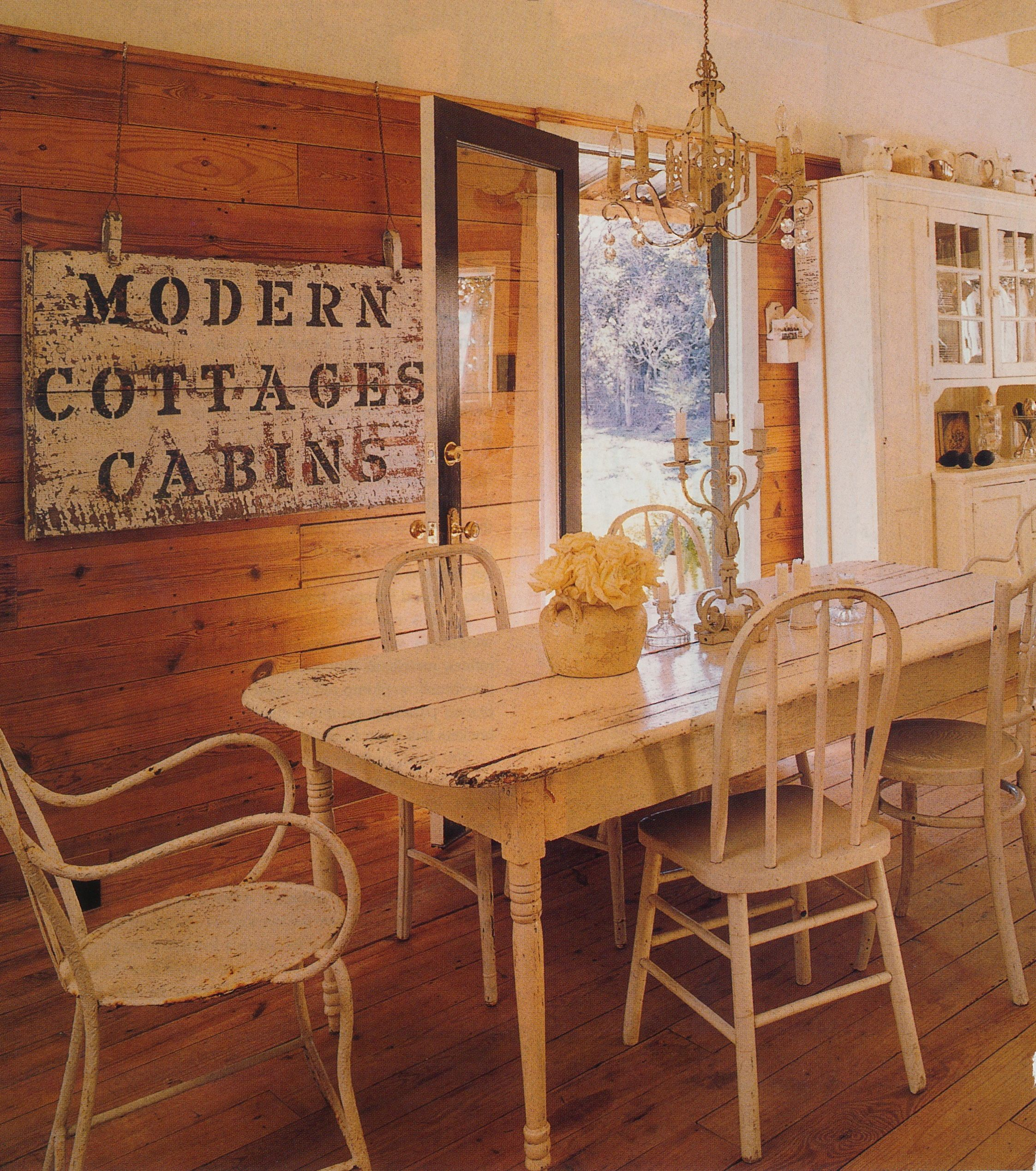 Country Home 2000. Distressed white farm table with