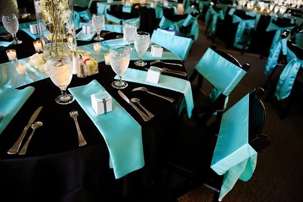 Aqua Tiffany Blue And Black Wedding Reception Tables