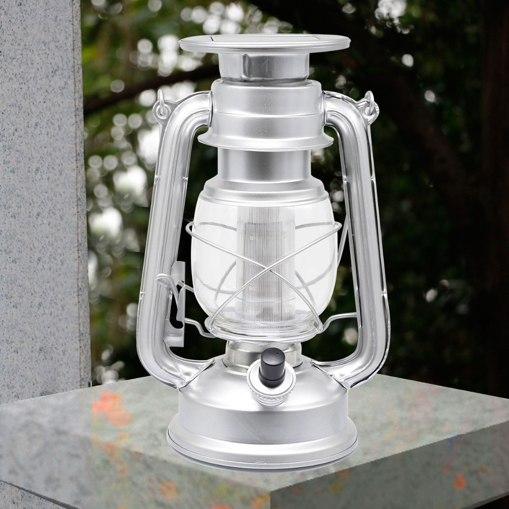 (31.03$)  Watch more here - http://aiazb.worlditems.win/all/product.php?id=32661766914 - European Style 12LED Solar Lantern Portable Outdoor Camping Retro Kerosene Lamp Courtyard Home Decoration silver Color