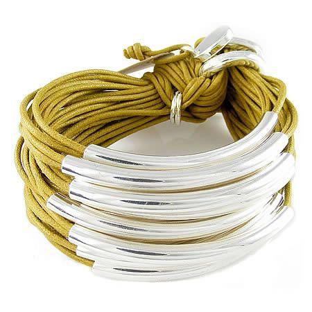 Multi Tube Bracelet - Silver Mustard, Gillian Julius, Jewelry $275