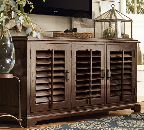 holstead shutter large tv media console heritage espresso finish tv stands colonial and. Black Bedroom Furniture Sets. Home Design Ideas