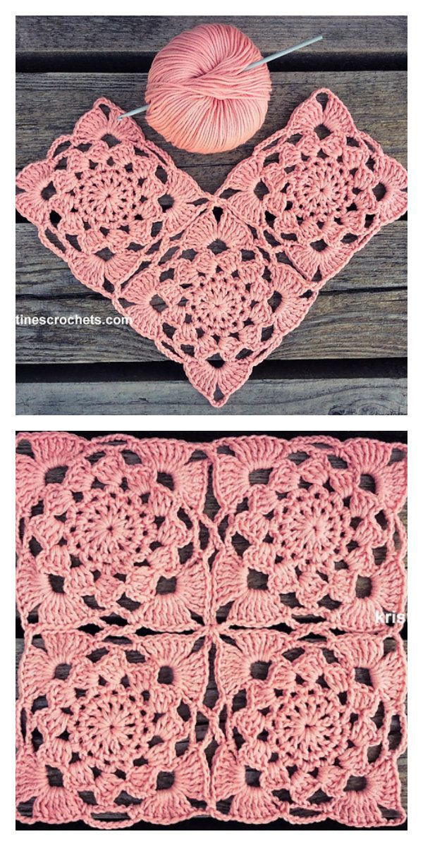 Sunset Flower Square Motif Crochet  Beautiful romantic squares to create new, brilliant projects. They are pink, light and very feminin  GrannySquareCrochet