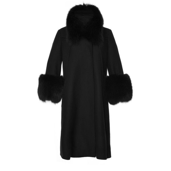 Elie Saab Wool And Fox Fur Coat ($6,510) ❤ liked on Polyvore featuring outerwear, coats, wool coat, funnel neck coat, woolen coat, a-line coat and funnel neck wool coat
