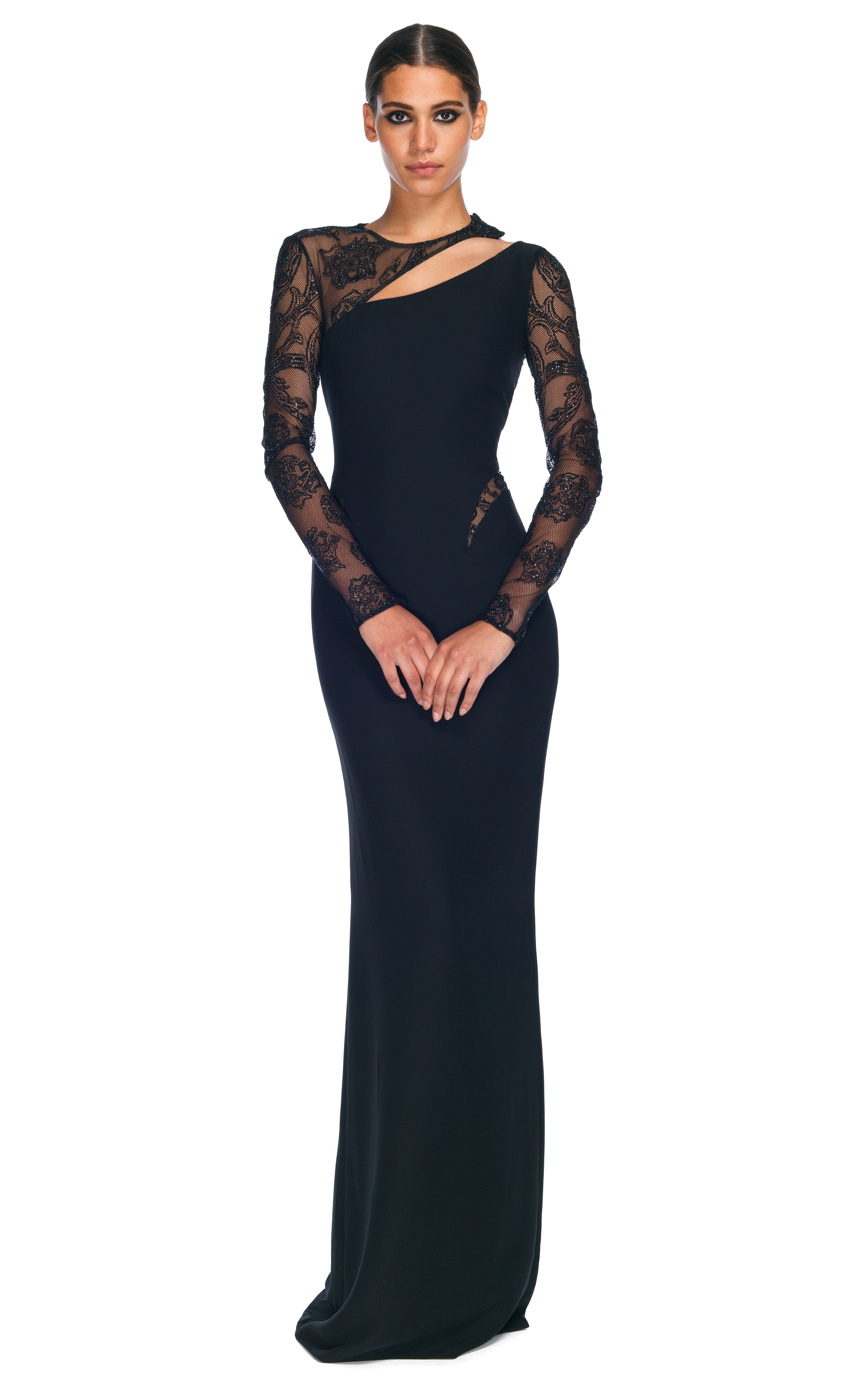 Versace Evening Gowns | Asymmetrical Cut Out Evening Gown by Versace ...