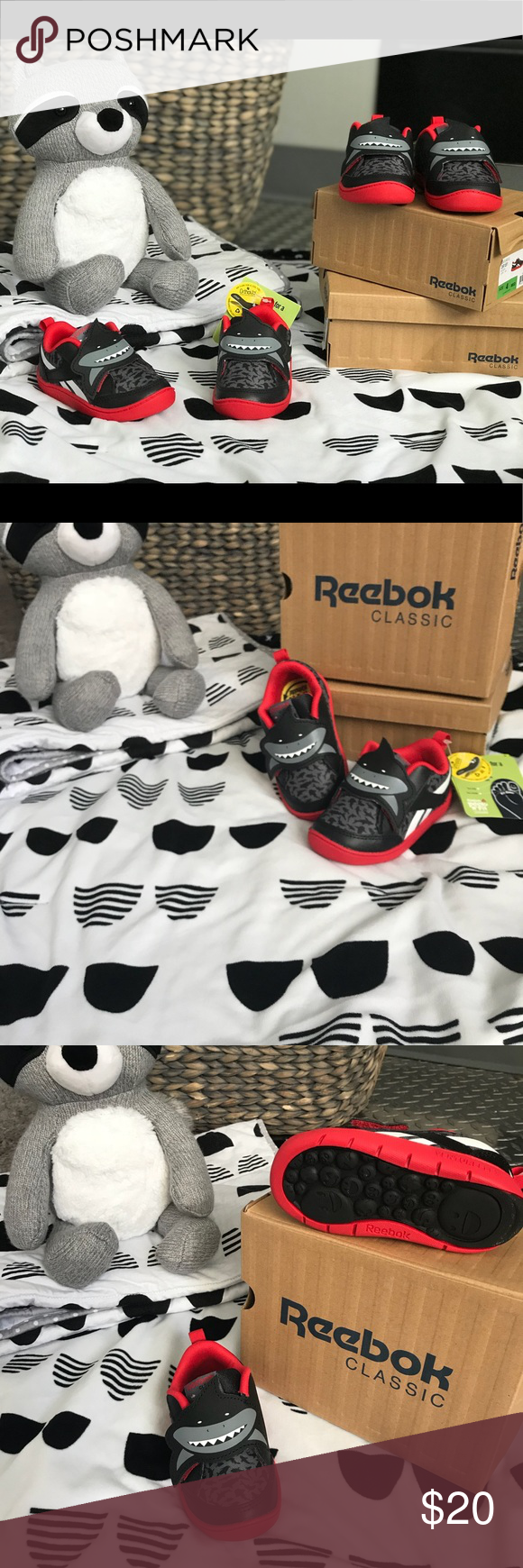 REEBOK CLASSIC INFANT SHOES SIZE 4 Shark design walking shoe for infants  with ortholite insoles. 9e6a57954