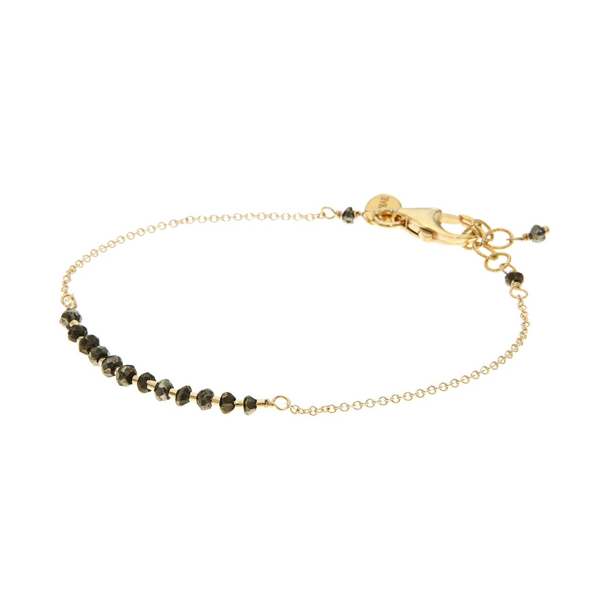 This elegant and feminine 14K gold filled bracelet is finished with a bar of gorgeous sparkly Pyrite and gold beads.