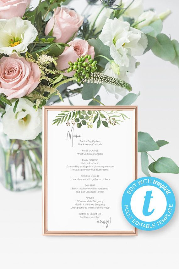 Printable Wedding Menu Greenery Wedding Menu Template  Evergreen