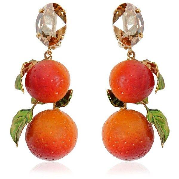 Dolce & Gabbana Women Oranges Drop Clip Earrings ($725) ❤ liked on Polyvore featuring jewelry, earrings, orange, accessories, clip on drop earrings, earring jewelry, drop clip earrings, orange earrings and clip-on earrings