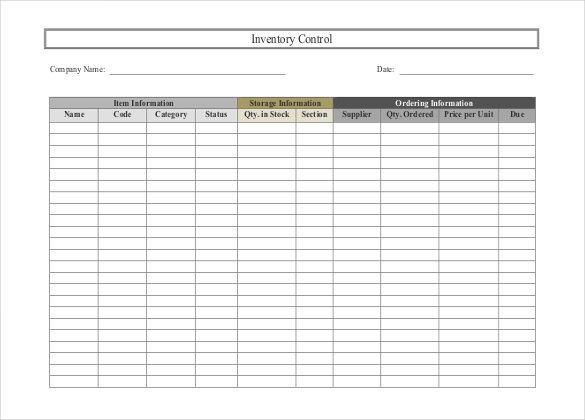 Inventory Spreadsheet Template   Free Word Excel Documents