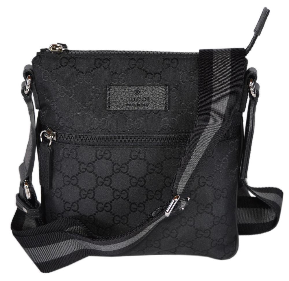 4a845c2a2f52 NEW Gucci 449183 Black Nylon MINI GG Guccissima Web Trim Crossbody Messenger  Bag #Gucci #MessengerCrossBody