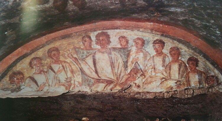 Cristo joven entre los apostoles. Pintural mural catacumba de Domitila Roma principios del siglo IV.