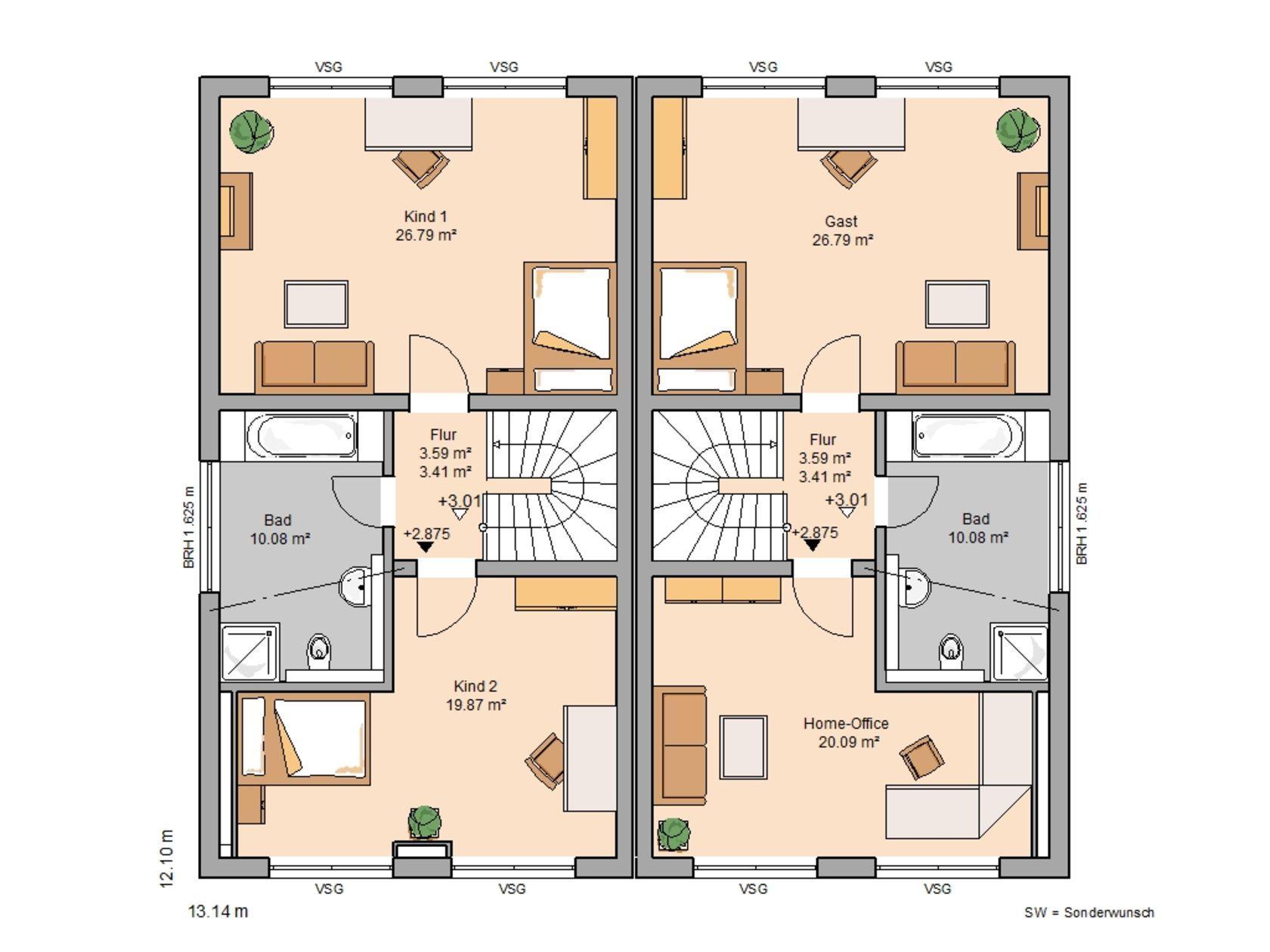 Doppelh user home haus haus grundriss en kern haus - Moderne grundrisse wohnungen beispiele ...