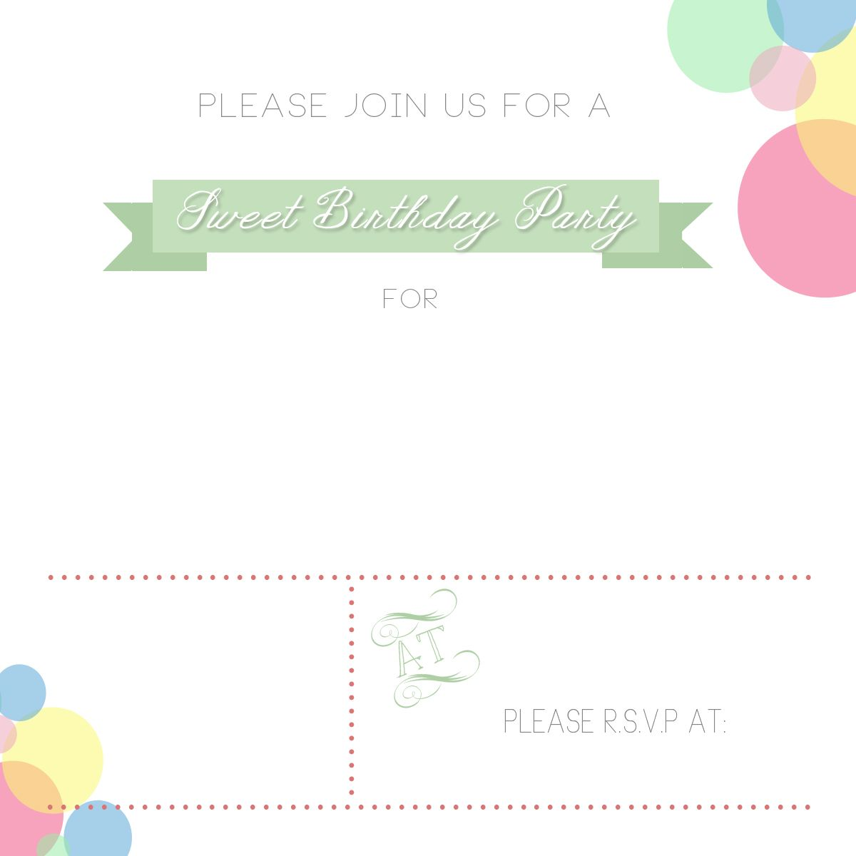 Sweet Birthday Party  Free Printables  Free Party Invitations