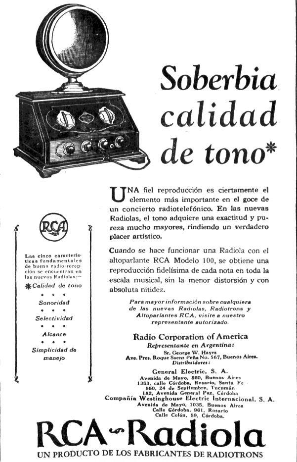 RCA RADIOLA. Publicidad argentina, década del 20   RADIO-TV HISTORIA ...