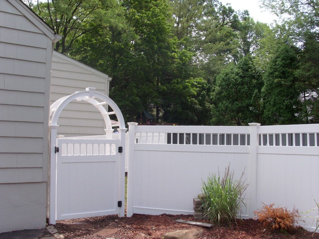 Unique Privacy Fence Ideas | fencing arbor and decorative top 6 foot white  vinyl privacy fence