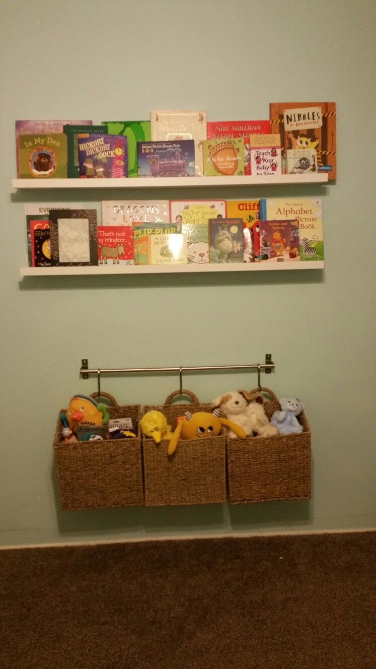 Ikea Book Ledge And Hanging Wall Baskets For Toys Mosslanda Picture Ledges