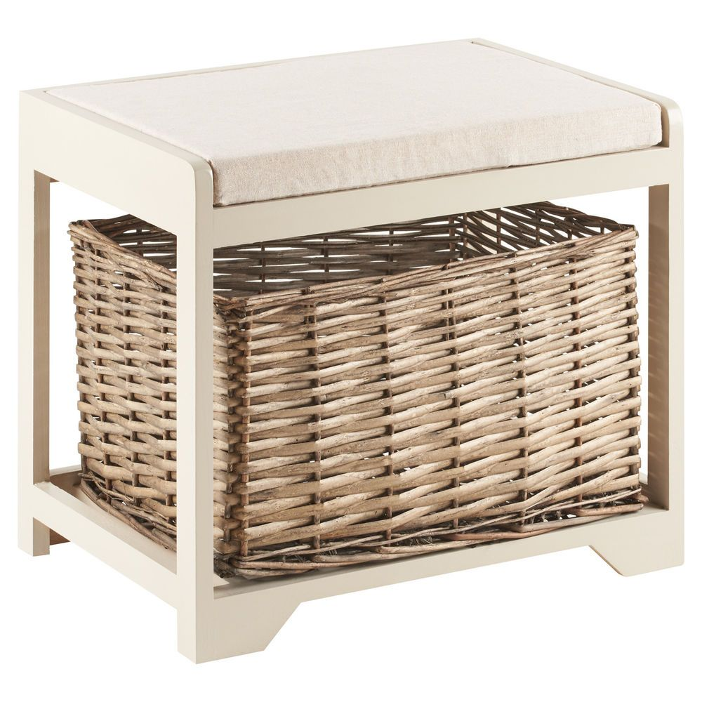Hartleys Small Storage Bench Thick Padded Seat Cushion And Wicker