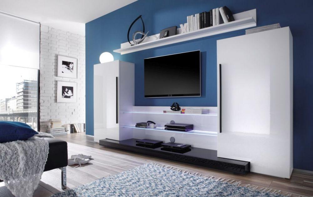 Großer Wohnzimmerschrank ~ Tory wohnwand weiß hochglanz abs. schwarz wohnzimmer pinterest