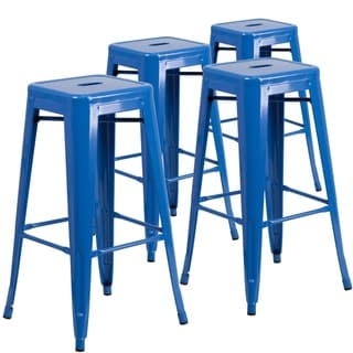 4pk Commercial Grade 30 H Backless Metal Indoor Outdoor Barstool