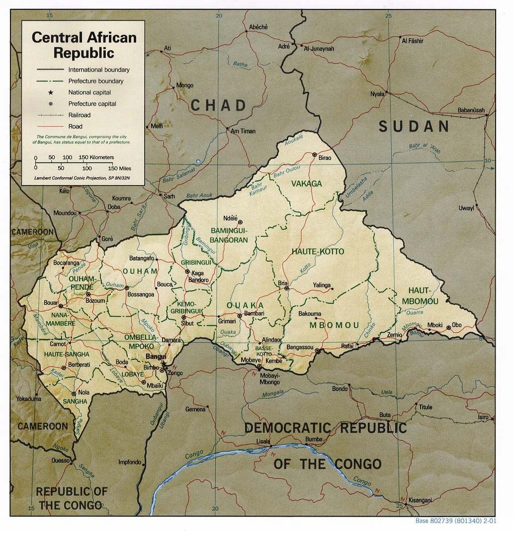 Map of Central African Republic where is the traditional Sultanate