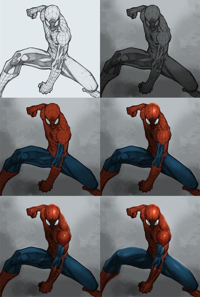 Digital Painting Tutorial Spiderman Digital Painting Tutorials Spiderman Drawing Painting Tutorial