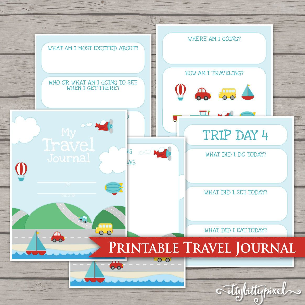 Kids Travel Journal Printable Digital Road Trip Daily