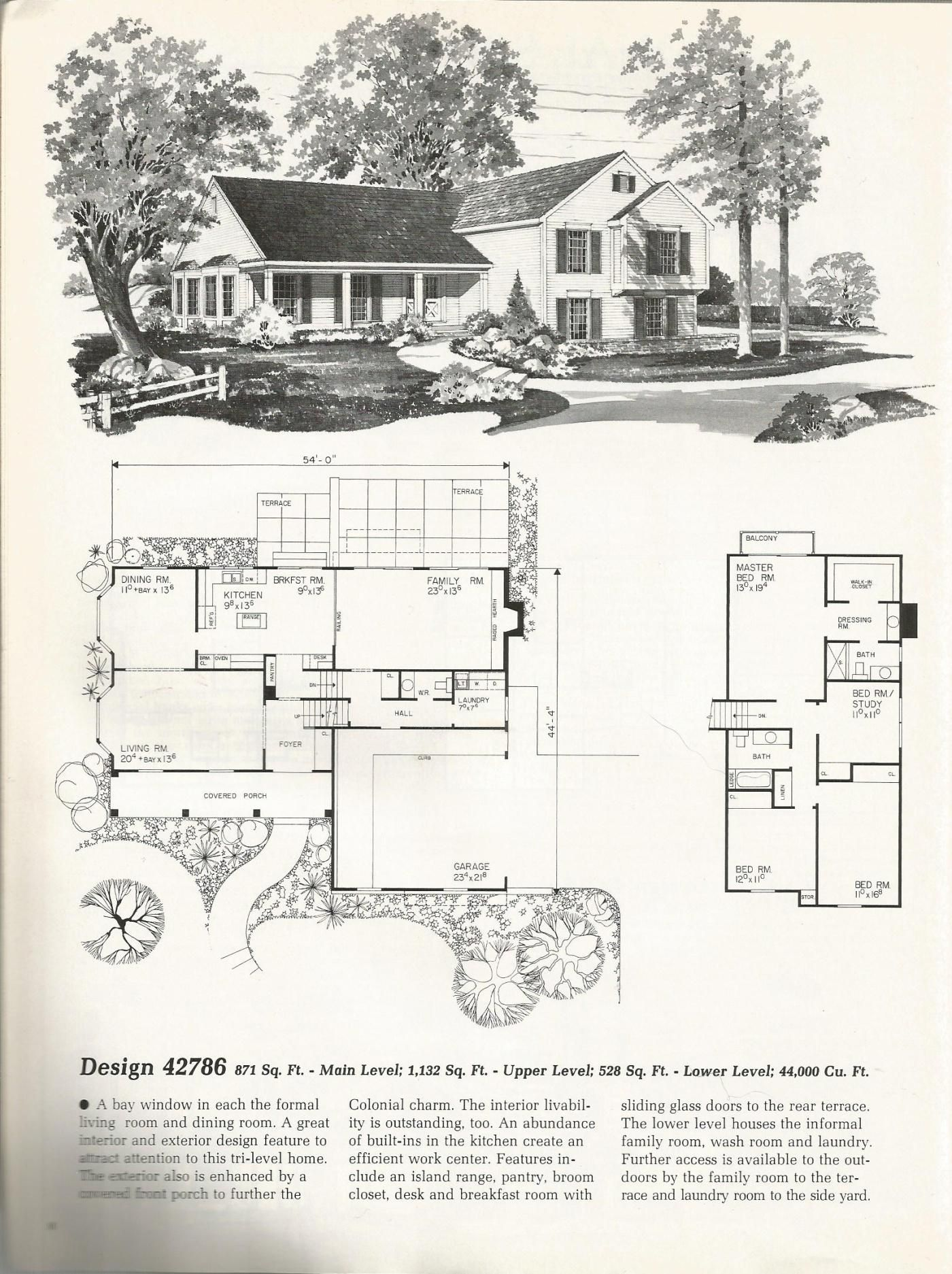 Colonial Tri Level Colonial House Plans Vintage House Plans Tri Level House