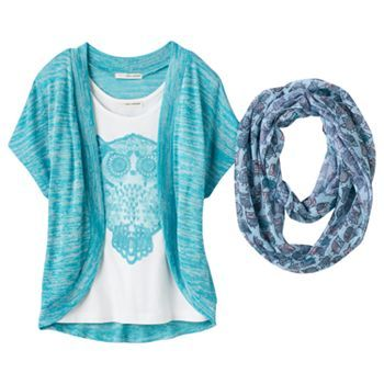 Self Esteem Mock Layer Top & Scarf - Girls 7-16