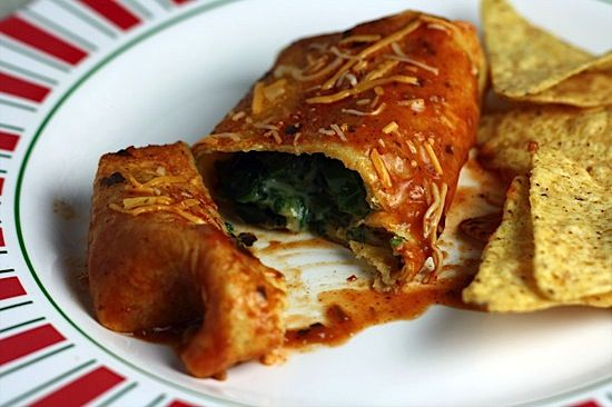 spinach, poblano and cheese enchiladas